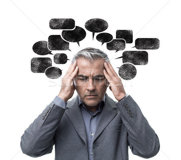 Negative pensare stress pensieroso uomo Foto d'archivio © stokkete