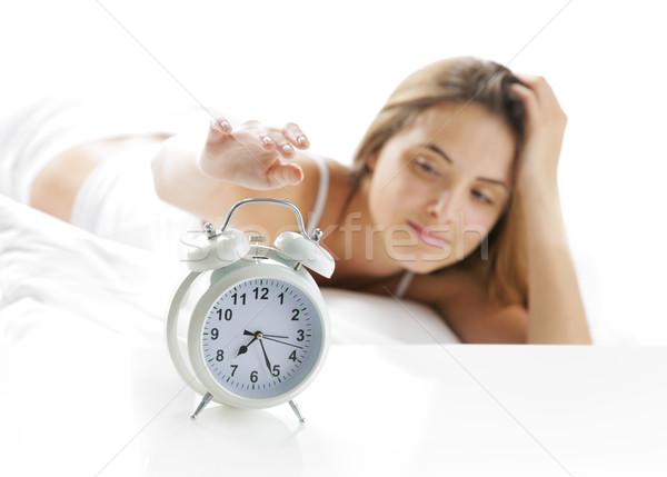 Virrasztás felfelé nő el ébresztőóra nők Stock fotó © stokkete