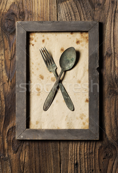Fork and spoon, framed, old style Stock photo © stokkete