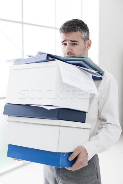 Frustrato imprenditore scatole triste caricare Foto d'archivio © stokkete