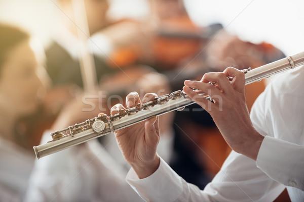 Profi furulya játékos előad női klasszikus zene Stock fotó © stokkete