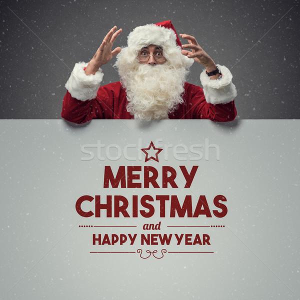 Stockfoto: Kerstman · christmas · wensen · vrolijk · gelukkig · blijde