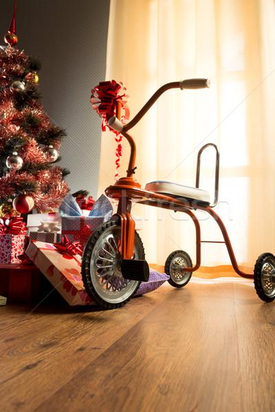 Bağbozumu Noel iç dekore edilmiş ağaç hediyeler Stok fotoğraf © stokkete