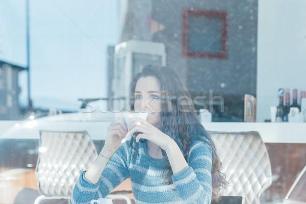 Stockfoto: Koffiepauze · cafe · mooie · tiener · meisje