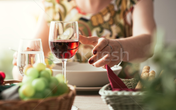 Woman having lunch at the restaurant Stock photo © stokkete