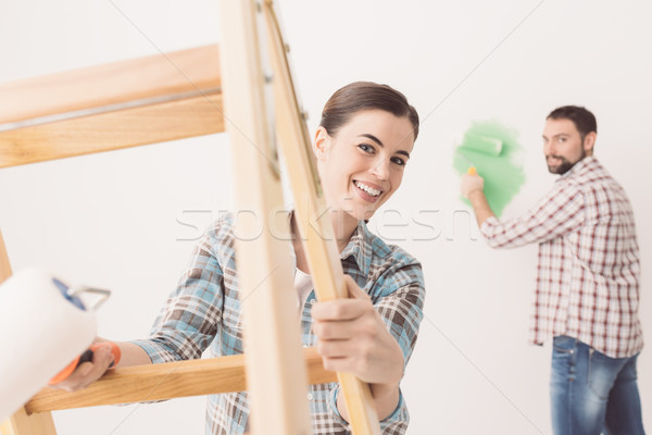 Young couple renovating their house Stock photo © stokkete