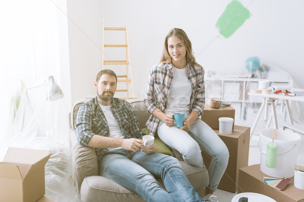 Couple relaxing during home renovation Stock photo © stokkete