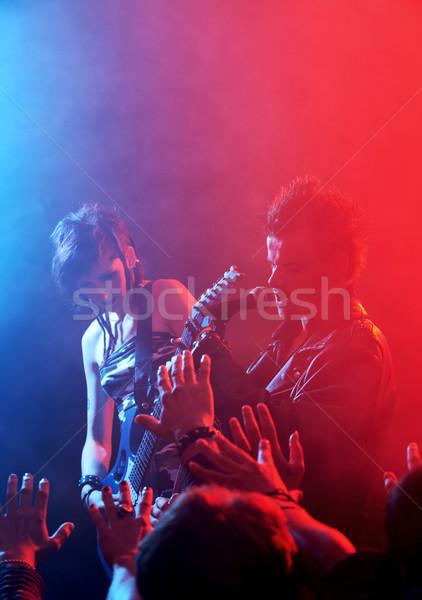 Cantante rock band vivere fase folla Foto d'archivio © stokkete