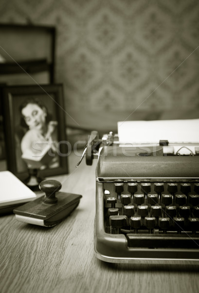 Writing a letter on vintage typewriter Stock photo © stokkete