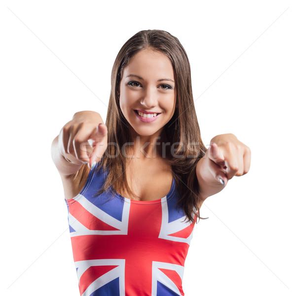 Sorridere ragazza punta fotocamera indossare Foto d'archivio © stokkete