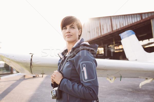 Photographer at the aerodrome Stock photo © stokkete