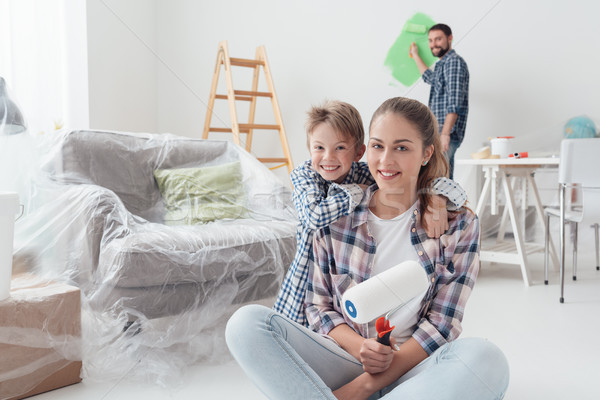 Family renovating their new apartment Stock photo © stokkete