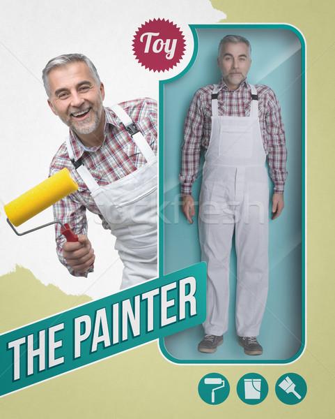 Pintor boneca ver brinquedo acondicionamento sorridente Foto stock © stokkete