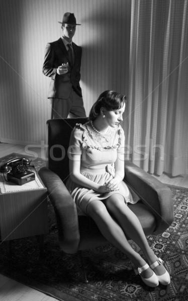 Conflict man vrouw familie hoed vergadering Stockfoto © stokkete