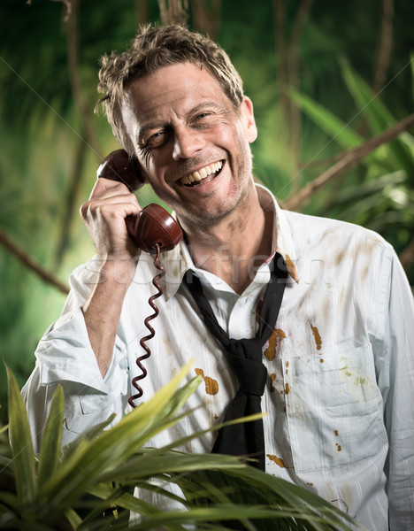 Phone call in jungle wilderness Stock photo © stokkete