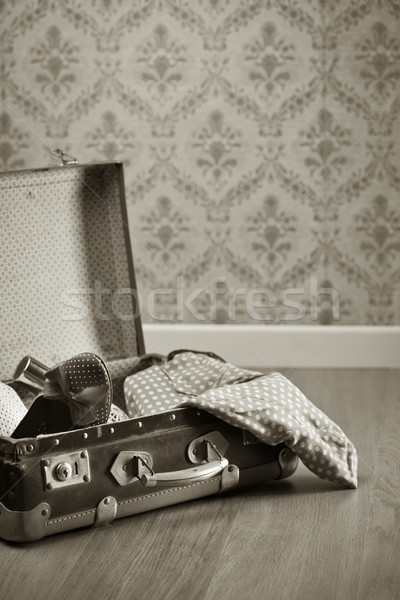 Vintage suitcase with red female shoes Stock photo © stokkete