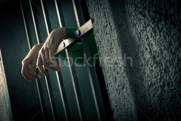 Man in jail hands close-up Stock photo © stokkete
