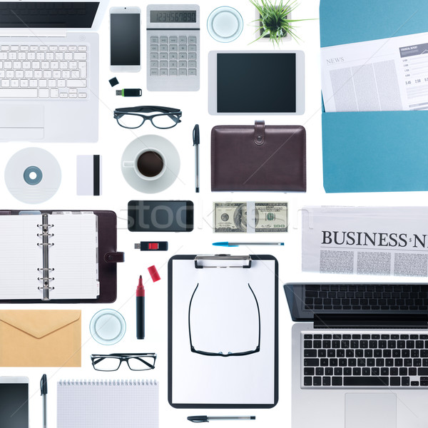 Stockfoto: Business · desktop · schrijfbehoeften · laptops · mobiele · telefoon