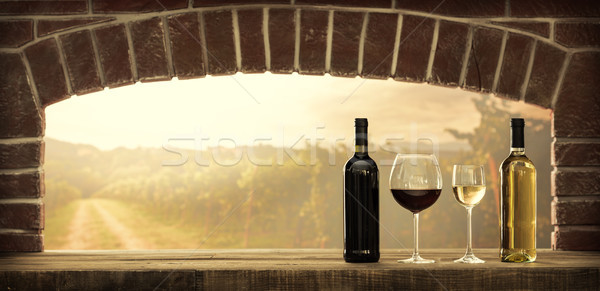 Wijnproeven kelder wijnkelder Rood witte wijn flessen Stockfoto © stokkete
