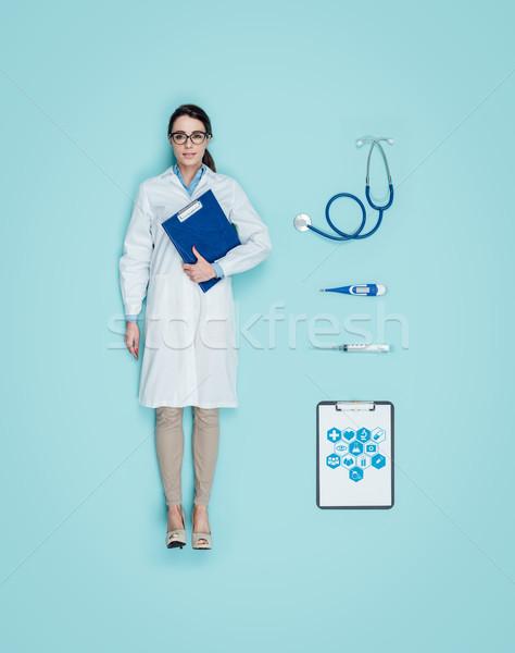 女性 医師 人形 笑みを浮かべて 人間 着用 ストックフォト © stokkete