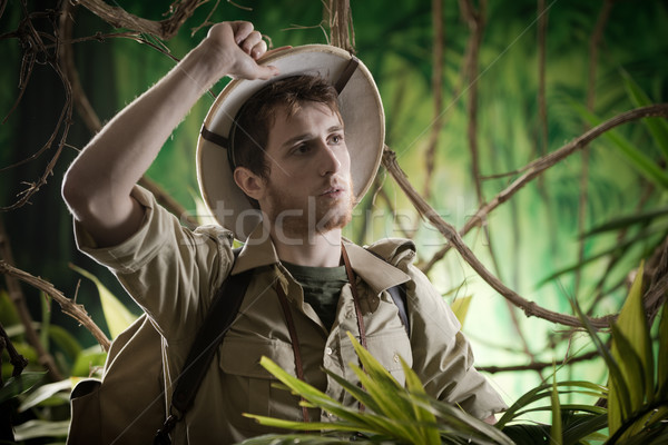 Exhausted explorer in the jungle Stock photo © stokkete