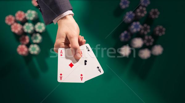 Pôquer jogador dois aces elegante Foto stock © stokkete