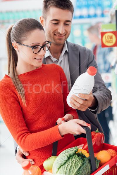 Zdjęcia stock: Para · zakupy · supermarket · spożywczy · czytania