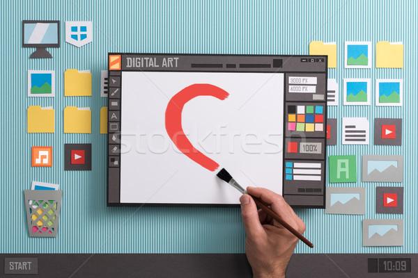 Digital pintura software artista design gráfico real Foto stock © stokkete