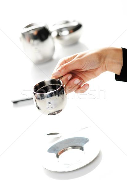 Stock fotó: Kezek · nő · tart · csésze · kávé