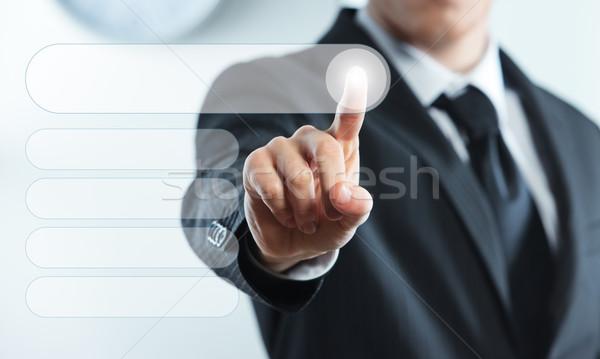 Tela sensível ao toque interface empresário dedo virtual botões Foto stock © stokkete