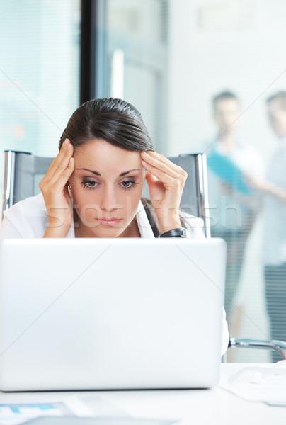 Photo stock: Affaires · problème · jeunes · femme · d'affaires · malheureux · travaux