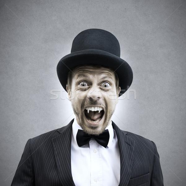 Wampira biznesmen scary krzyczeć vintage Zdjęcia stock © stokkete