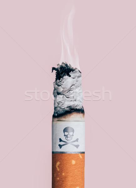 Sigaretta brucia cranio ossa simbolo fumo Foto d'archivio © stokkete