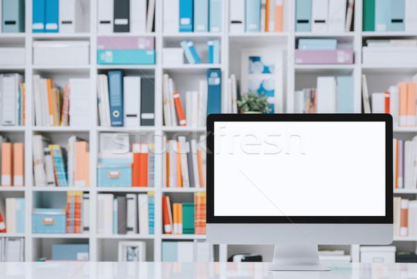 Сток-фото: профессиональных · workspace · компьютер · Полки · Creative · белый