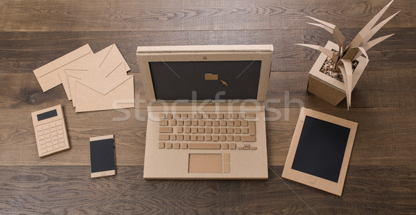 Creative eco friendly cardboard office Stock photo © stokkete