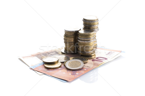 ユーロ 現金 白 コイン 金融 ストックフォト © stokkete