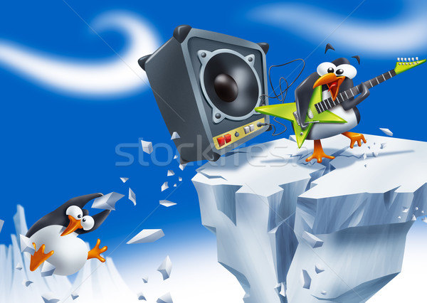 громко пингвин смешные играет электрической гитаре Сток-фото © stokkete