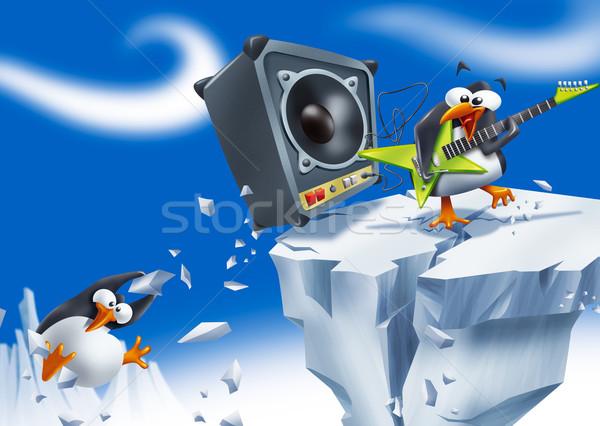 Yüksek sesle penguen komik oynama elektrogitar Stok fotoğraf © stokkete