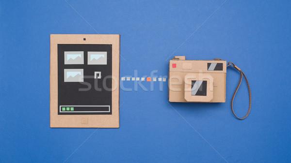 Fotó átutalás kamera tabletta kreatív tárgyak Stock fotó © stokkete