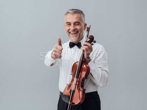 Cheerful violinist portrait Stock photo © stokkete