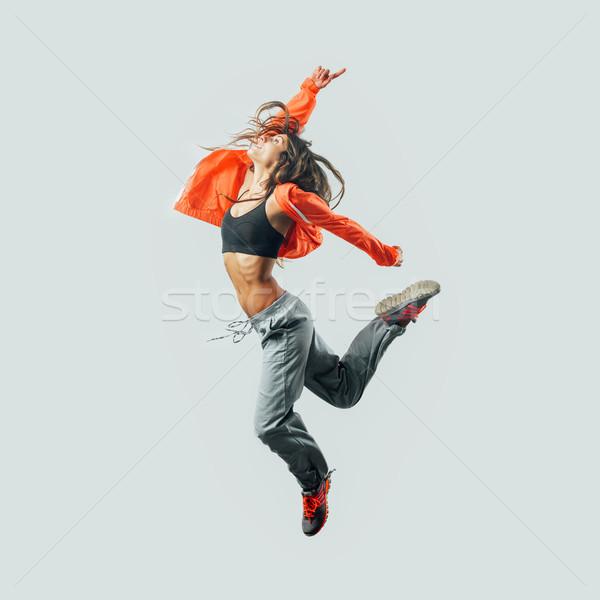 Stock fotó: Modern · stílusú · táncos · ugrik · sportos · energia · fitnessz