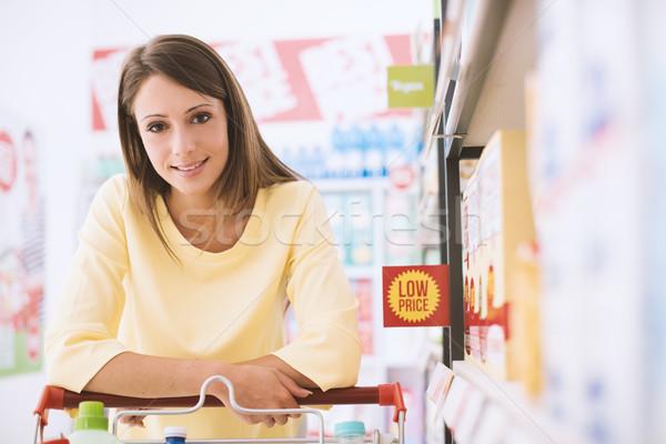 Zdjęcia stock: Szczęśliwy · kobieta · supermarket · spożywczy · zakupy