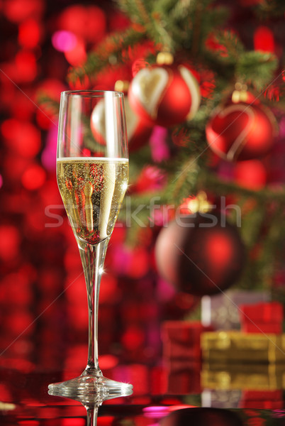 Stok fotoğraf: Kutlama · şampanya · cam · Noel · süslemeleri · parti