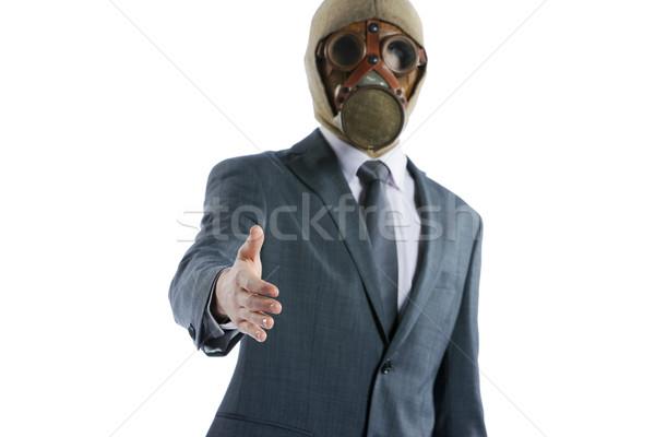 Portré üzletember gázmaszk felajánlás kézfogás öltöny Stock fotó © stokkete