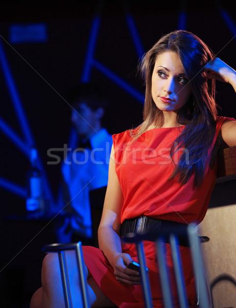 Nuda nudzić dziewczyna klub nocny czeka partnerem Zdjęcia stock © stokkete