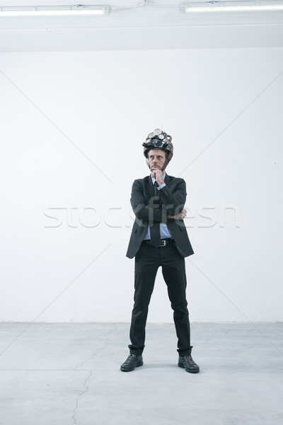 Creative бизнесмен стимпанк шлема мышления стороны Сток-фото © stokkete