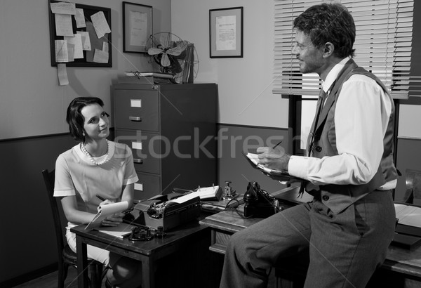 Vintage director and secretary working in the office Stock photo © stokkete