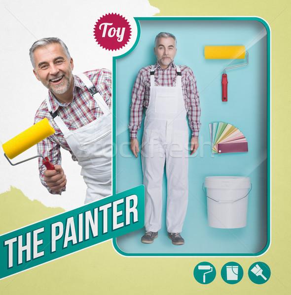 Pintor muneca trabajo herramientas ver juguete Foto stock © stokkete