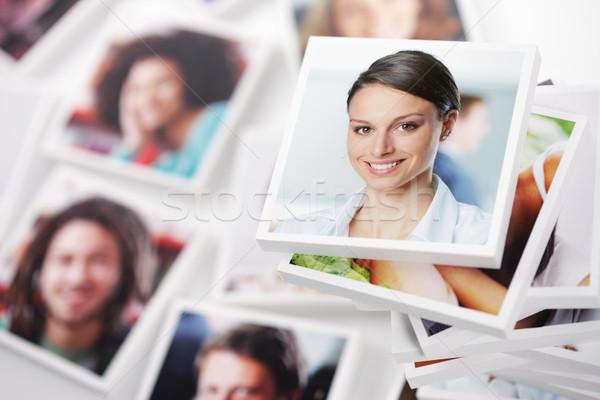 Stockfoto: Succes · portretten · groep · mensen · glimlachende · vrouw · voorgrond · portret