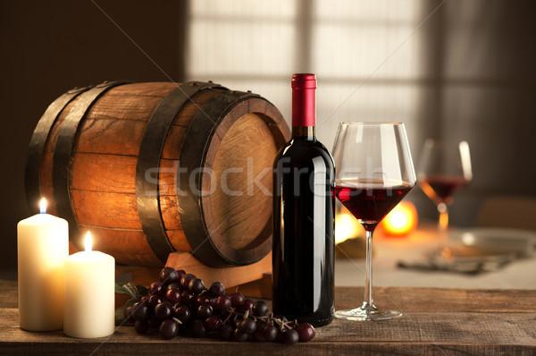 Borkóstolás étterem üveg üveg szőlő hordó Stock fotó © stokkete